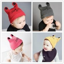 패션 0-24 개월 따뜻한 아이 고양이 귀 니트 모자 아기 양모 모자 (6 색)