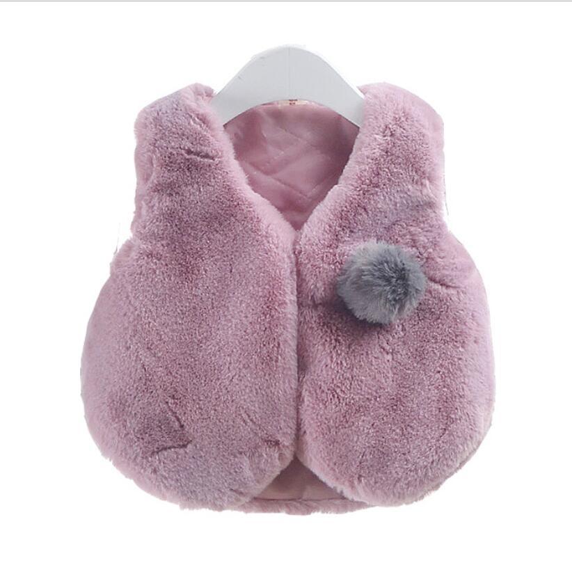 2018 Fashion Solid Pelz Fleece Säuglingsbabys Weste Frühling Herbst Winter Kinder Oberbekleidung Mantel Jacke Kinderkleidung Jw6182