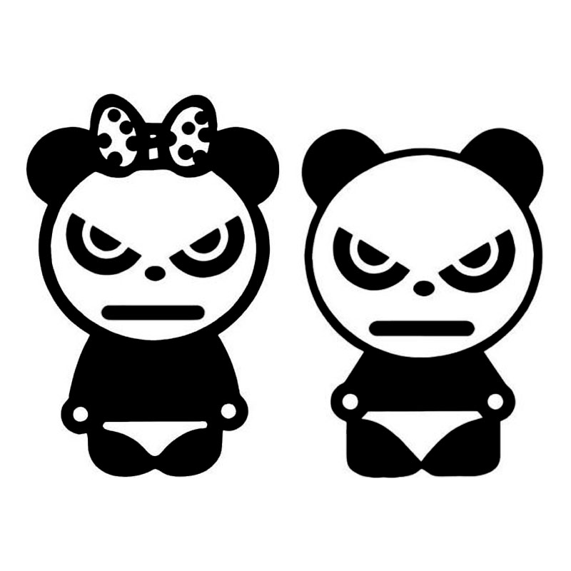 15.2*11.3CM Angry Boy Girl Pandas Car Stickers Car Body Decal Vinyl Cartoon Motorcycle Car Styling Black/Silver C9-1488 17 8 5 9cm made in my garage funny car styling car stickers decal car styling motorcycle body cool covers black silver c9 0581