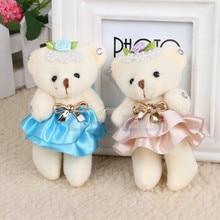 1Pcs Random Color Cartoon Flower Plush Dolls Mini Teddy Bear With Skirt Rainstone For Wedding Decoration Kids Toys