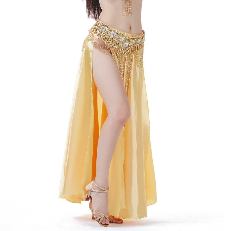 Women Belly Dance Costume Sexy Double  Side Split Bellydance Dress Lady Color Satin Skirt Stage Performance Dancewear (No Belt)