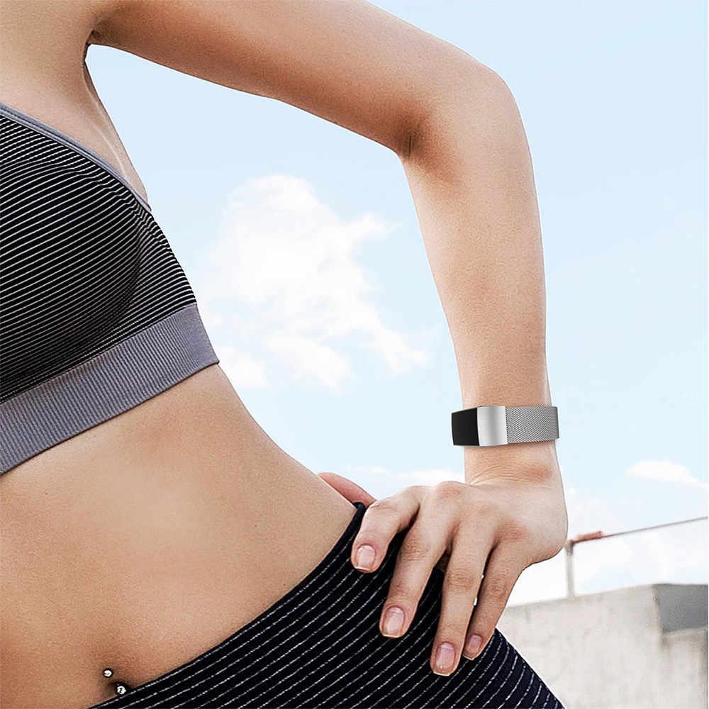 BEYESE paslanmaz çelik manyetik Milanese çekme bandı Fitbit şarj 2 için yedek bileklik kayışı Fitbit şarj için 3 kordonlu saat