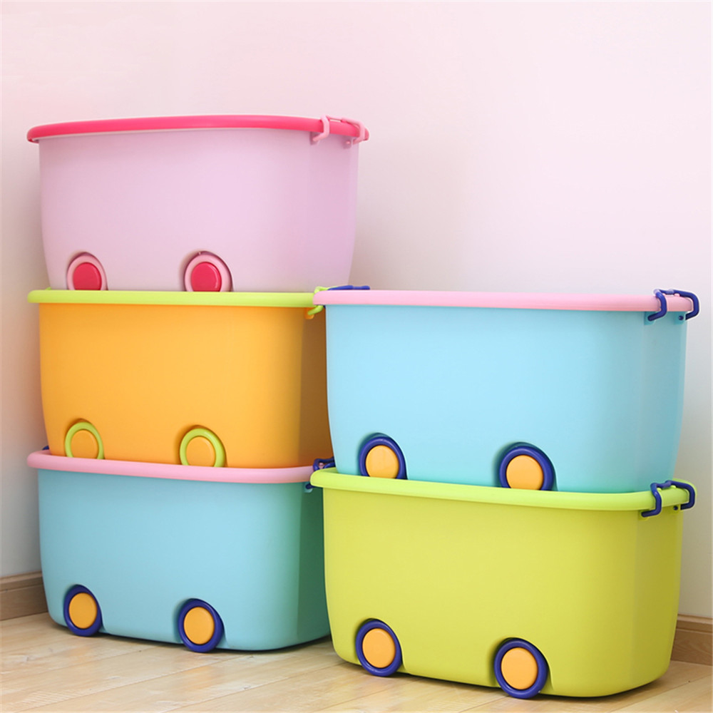 bathroom box cute big cartoon plastic cloth cosmetic organizer case with rollar bathroom box holder kitchen desktop storage