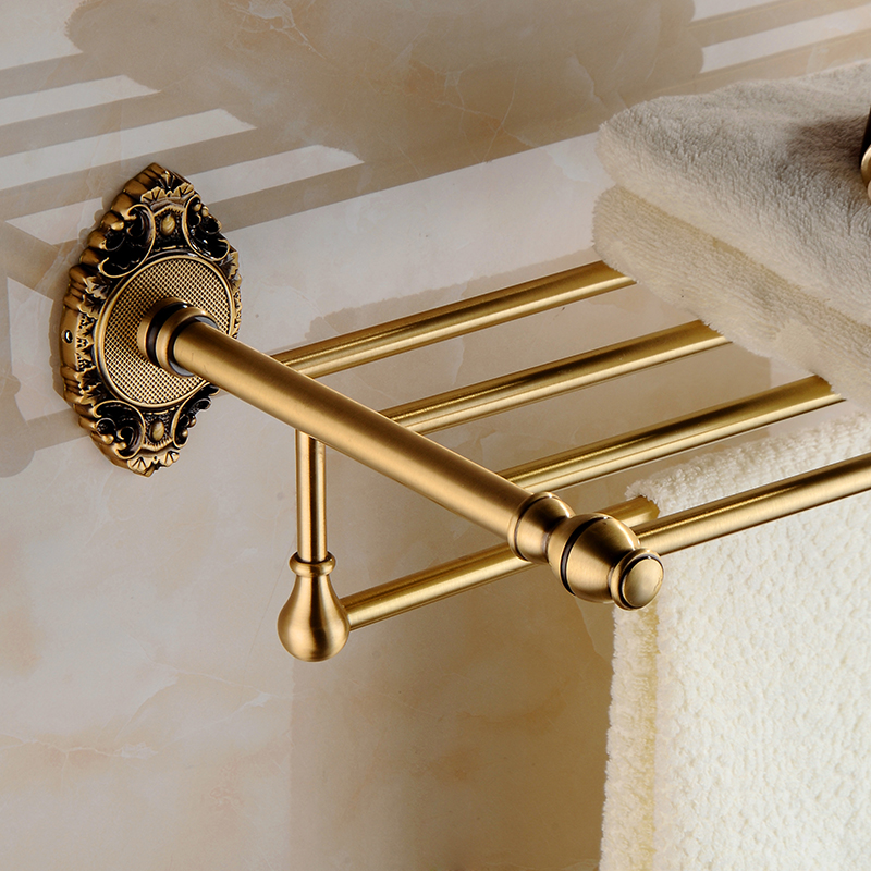 Wholesale And Retail New Design Wall Mounted Towel Shelf Basket Wall Mounted Brass Antique Carving Towel Rack CA-9603 nafisa farooq and nasir mehmood cicer arietinum and vigna mungo antifungal ca afp gene and assays