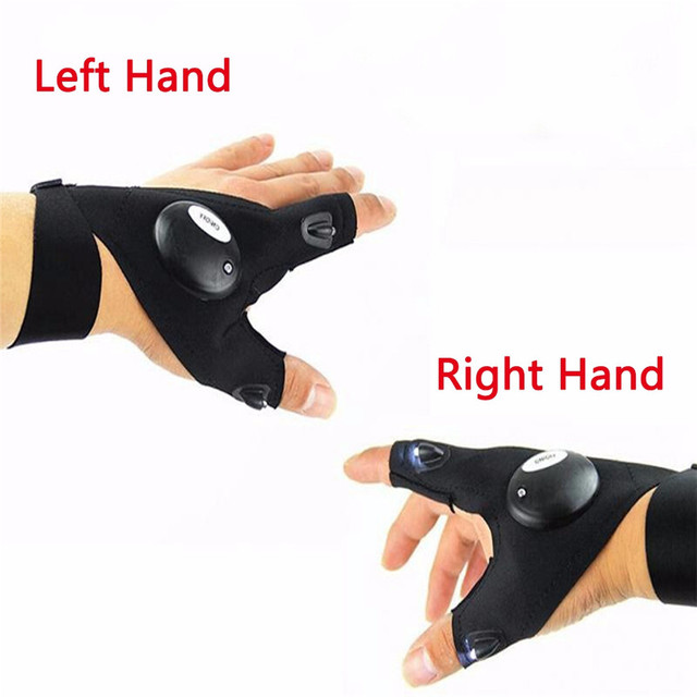 Black Outdoor Night Fishing Magic Strap Fingerless Glove LED Flashlight Torch Cover Survival Camping Hiking Rescue Tool Nov#3 5