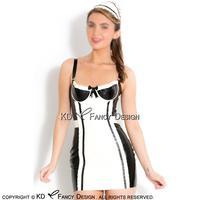 Czarny Z Białym Francuski Maid Sexy Mini Sukienka Lateksowa Gumy Jednolite Z Łuków Brakuje i Zipper Suknia Playsuit Bodycon LYQ-0105