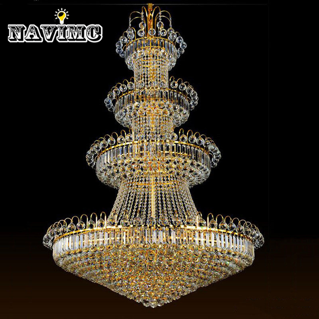 100cm luxury big europe large gold luster crystal chandelier light 100cm luxury big europe large gold luster crystal chandelier light fixture classic light fitment for hotel aloadofball Choice Image