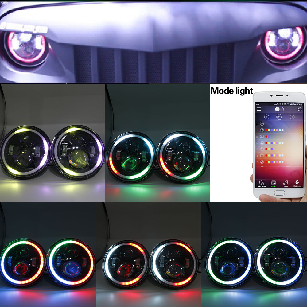 7 inch Led Headlights Bulb RGB Halo Angel Eye with DRL Bluetooth Remote Music Mode for Jeep Wrangler Lada 4x4 Niva Hummer H1 H2 7 led headlights bulb rgb halo angel eye with bluetooth remote for 1997 2016 jeep wrangler jk lj cj hummer h1 h2 headlamp