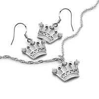 Noble palacio de estilo joyería de plata sólido 925 la corona pendientes del collar del encanto señora boda accesorios regalos