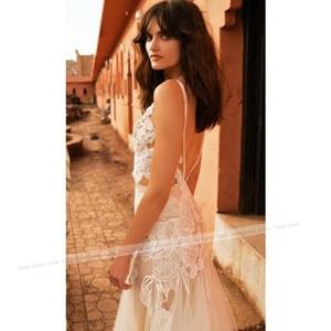 Image 2 - LORIE Mermaid Wedding Dress V Neck Appliqued Sexy Backless Lace Bride Dress Princess Boho Wedding Gown Floor Length