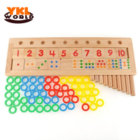 Rainbow Pierścienie Dominos YKLWorld Zabawy Dzieci Przedszkole Pomoce Dydaktyczne Liczenia i Układania Płyty Drewniane Matematycznych Działania Zabawki-48