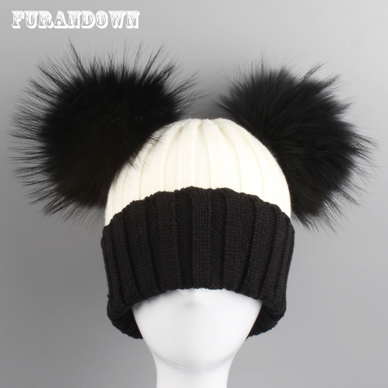 2018 New Winter   Beanie   Hats For Women Cute Two Fur Pompoms Hat Patchwork Knitted   Skullies     Beanies