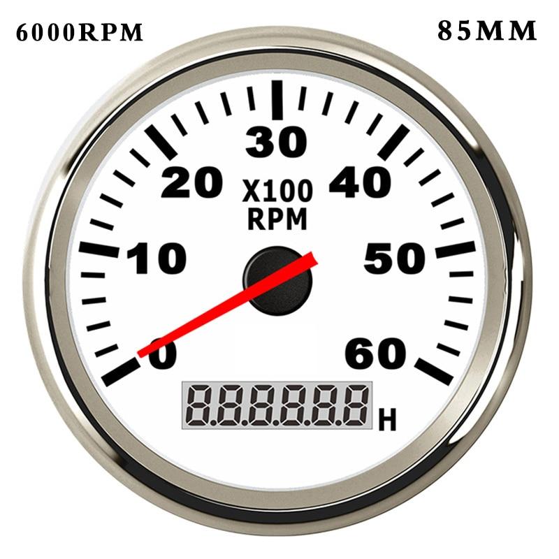 6K 8K RPM Boat Tachometer for Diesel Gasoline Car Boat rpm Meter Gauge with Hourmeter Red Backlight  9 32V