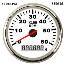 6K/8K RPM Boat Tachometer for Diesel Gasoline Car rpm Meter Gauge with Hourmeter Red Backlight  9~32V