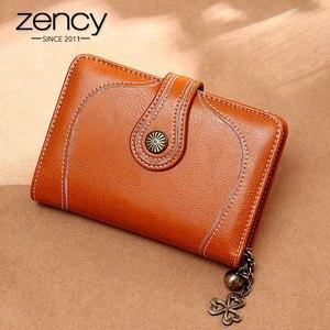 Image 2 - Zency 100% prawdziwej skóry prosty portfel dla kobiet kopertówka wysokiej jakości dużej pojemności portfel etui na karty brązowy