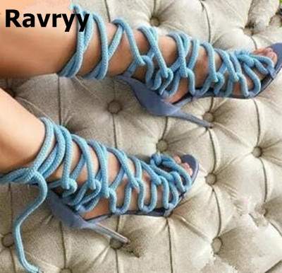 Nylon Rope Cross-tied Gladiator Thin High Heels Shoes Sky Blue Hollow Out Casual Fashion Sandals criss cross side slit hollow out sweater