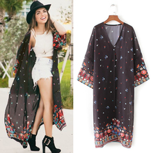 c5507b7ad99ec ANSELF Women Casual Vintage Kimono Cardigan Ladies 2018 Summer Long Beach  Chiffon