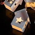 4 шт./лот 10LED Деревянного Дома Внутреннего Освещения Деревянные Украшения Дома Звезды Огни Звездное Рождество Свет, Работающий От Батареи Фея