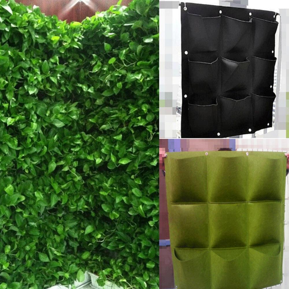 Nouveau intérieur extérieur mur suspendus planteur vertical feutre jardin usine élèvent sacs contenant 9 poche vert