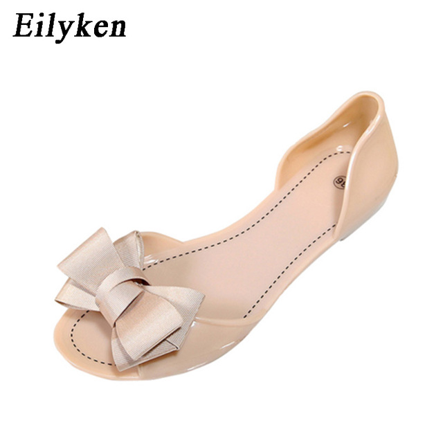 751939df96d412 Eilyken Women Jelly Sandals Beach Jelly Shoes Woman Summer Flip Flops  Bowtie Slippers Slip On Flats Casual Women Shoes-in Women s Sandals from  Shoes on ...