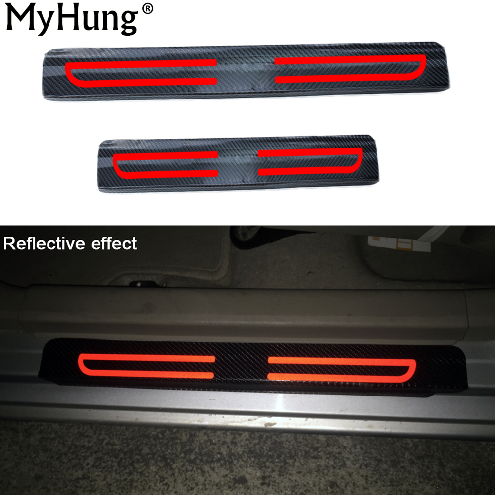 Carbon Fiber Reflective Car Door Sill Stickers For Jeep compass patriot wrangler sahara rubicon Grand Cherokee Car-Styling 4Pcs car accessories carbon fiber door sill 2pcs fit for 1989 1994 r32 gtr gts door sill without logo car styling
