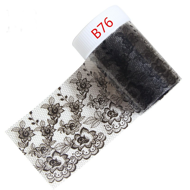 100*4cm 1 Roll Nail Art Stickers Decals Wraps Nail Transfer Foil Black Lace Flower Manicure Tools Wholesale Retail B76 top nail 20 rolls of laser gold silver glitter striping tape line nail art tips decals beauty transfer foil stickers for nails