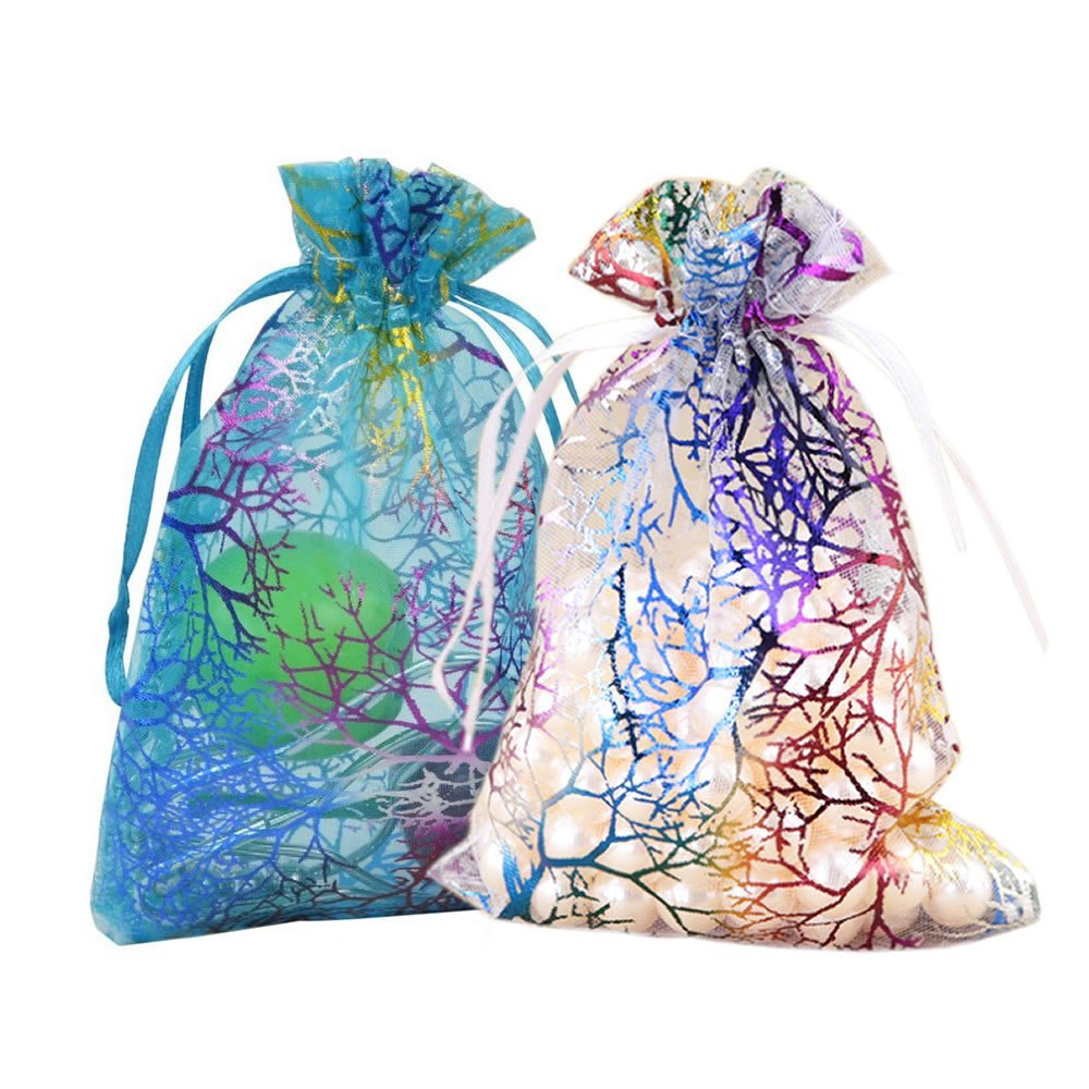 Wholesale 2 Colors Coralline Organza Jewelry Bags Christmas Party Wedding Favor Gift Bag 1000pcs lot 7x9