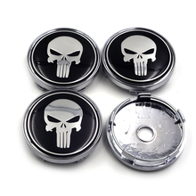 Newest Cool 60mm Black Color Car Tyre Wheel Center Hub CapEmblem Badge Decal Punisher Caps for Audi Nissan BMW Toyota Opel VW