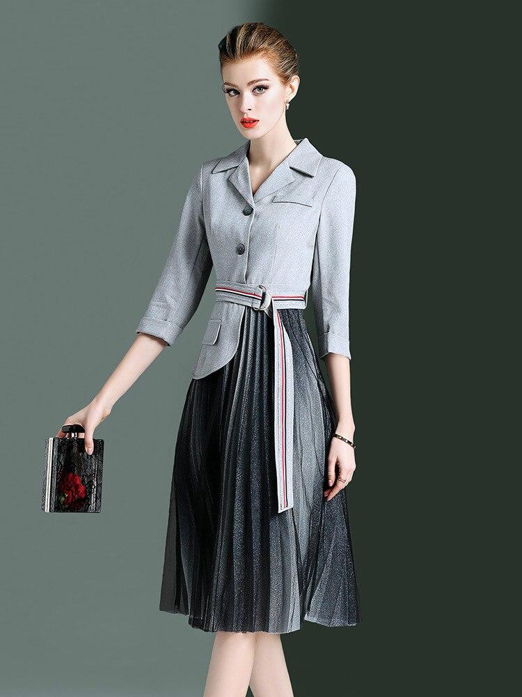 f0f684036675 Gray Signore 2019 Donne Robe Elegante Primavera Vestiti Delle Vintage Femme  Da Dell ufficio Del Vestito Maglia Partito Della Estate Zt1977 Abiti  nxwqYq0HF