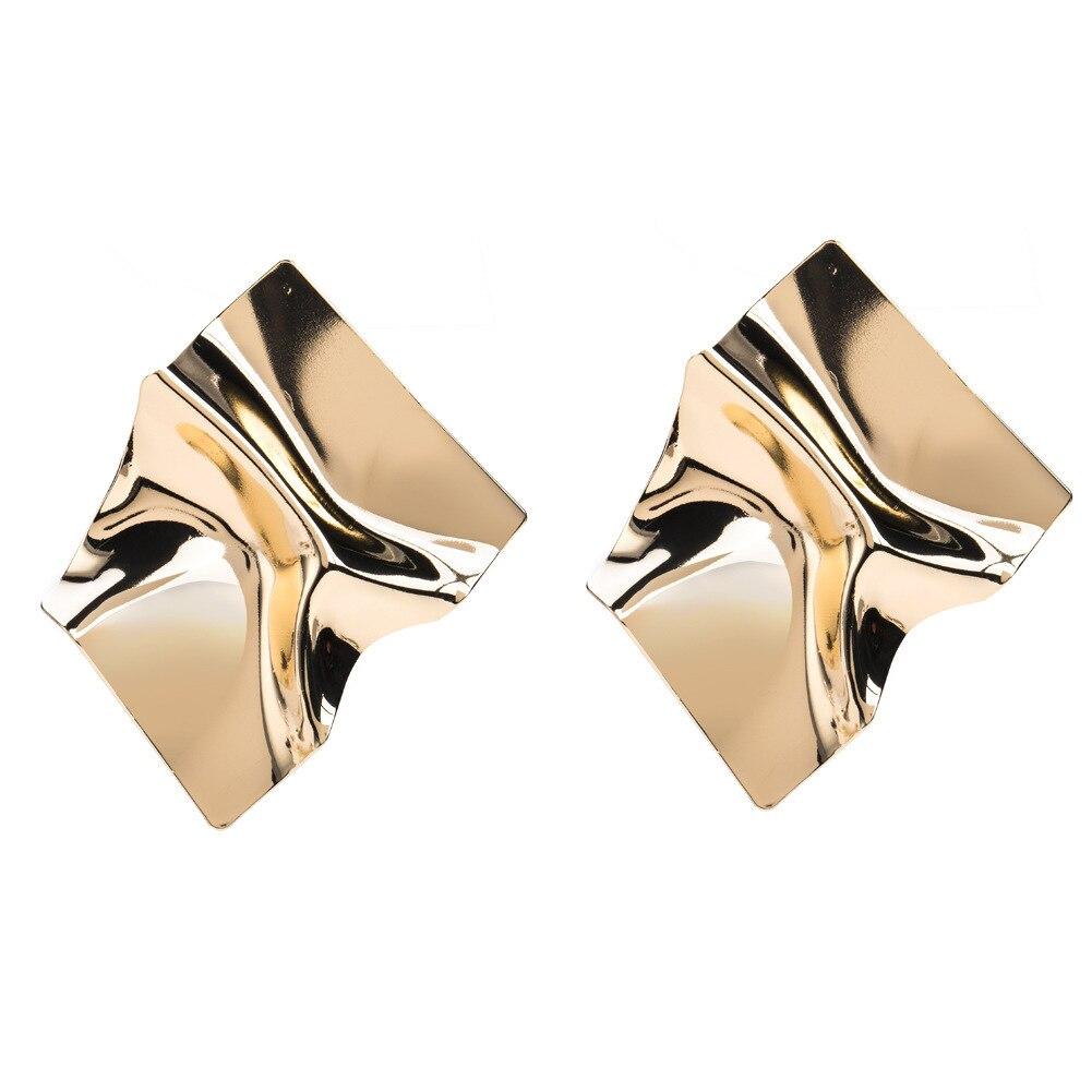 Fashion Gold Large Metallic Geometry Irregular Big Earrings for Women Girls Jewelry Girl Earring Charm Statement Jewllery
