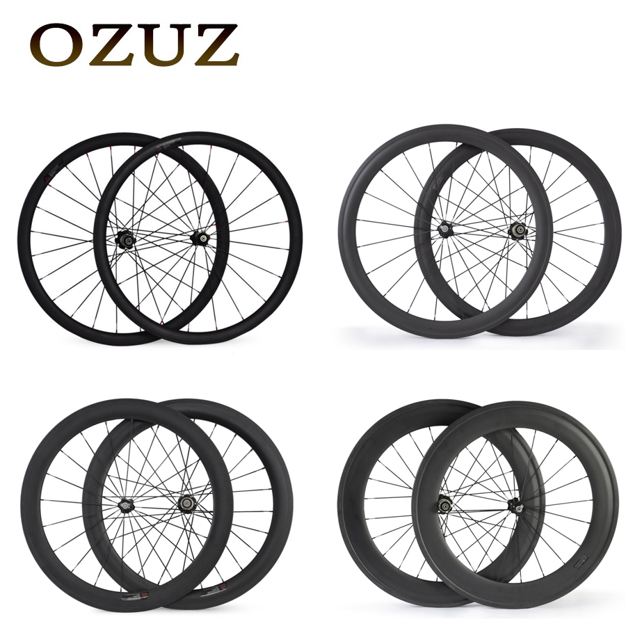 OZUZ 700C 24mm 38mm 50mm 60mm 88mm Clincher Tubular 23mm Width 3K Carbon Wheels Road Bike Bicycle Wheel Racing Touring Wheelset купить