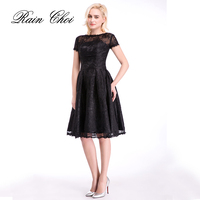 Black Cocktail Dress 2016 Short Sleeves Formal Dresses Elegant Homecoming Party Gowns