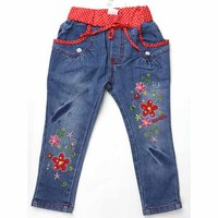 Kid Girls Jeans Denim Trousers Multiple Flowers Embroider Rhinestones Crystal Button Red Dot Elastic Waist 2015