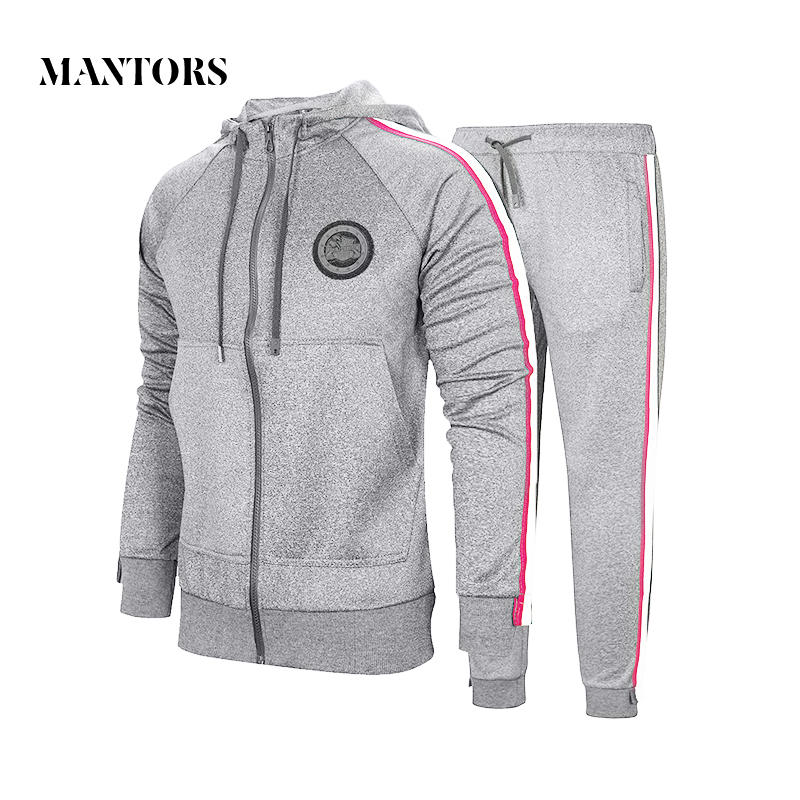 Autumn Men Set 2020 Sportswear Suit Hooded Sweatshirt Tracksuit Men's Casual Solid Zipper Outwear 2PC Hoodies + Pants Sets Male