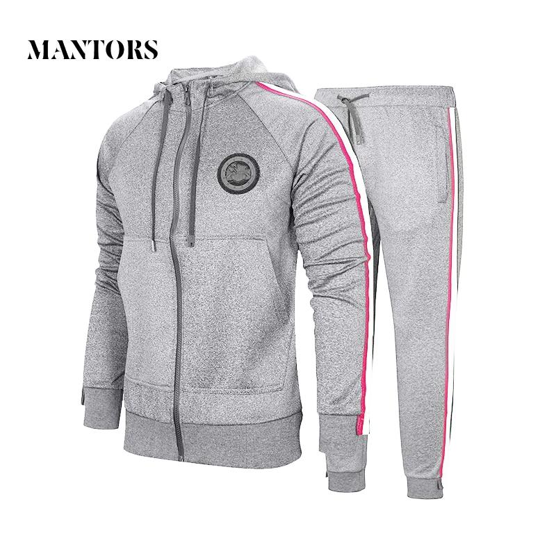 Autumn Men Set 2020 Sportswear Suit Hooded Sweatshirt Tracksuit Men's Casual Solid Zipper Outwear 2PC Hoodies + Pants Sets Male