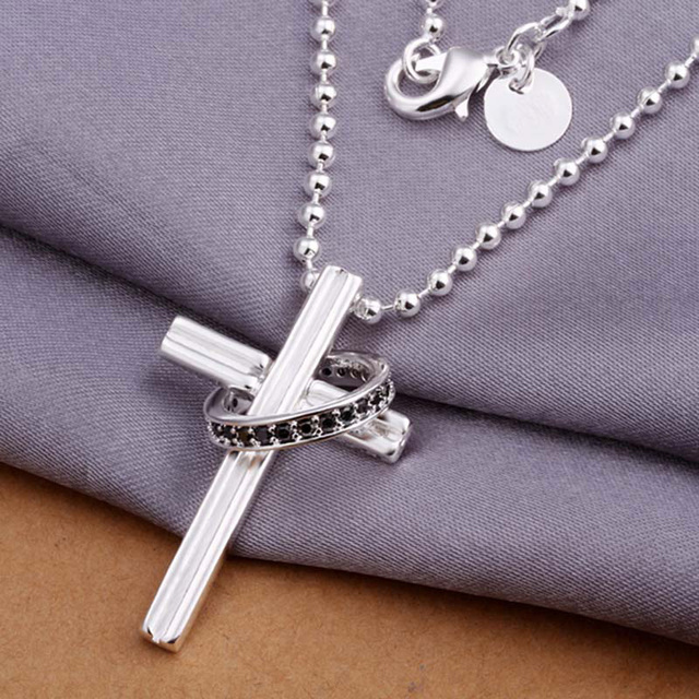 Silver cross pendants necklaces 925 sterling silver jewelry zircon silver cross pendants necklaces 925 sterling silver jewelry zircon women necklaces wholesale price aloadofball Choice Image