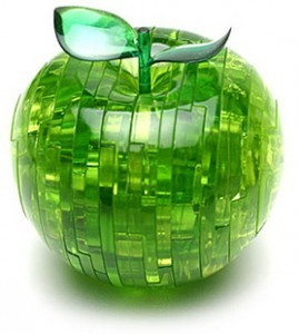 9301GREEN or  Red Crystal 3D Furnish Apple Jigsaw Puzzle IQ Gadget