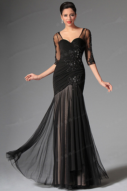 Customized Size Mermaid Black Evening Dress With Sleeves Cut Back Beaded Prom Gown