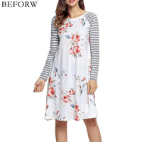 BEFORW New Autumn And Winter Women Dress Long Sleeves Printing Stripe Splice Dresses Fashion Casual Women