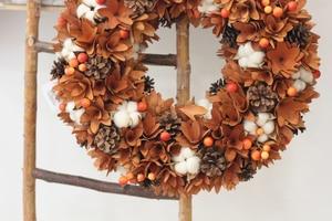 Image 4 - Декор урожая сельский дом венок природа цветы хлопок дерево деревенский осенний Декор висящий передний дверной венок День благодарения венок