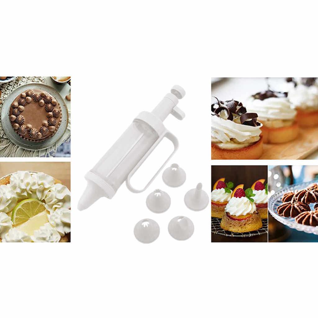 الكوكيز العفن كريم مجموعة أدوات للمسدس كوكي صانع الطارد مضخة الصحافة ماكينة صنع البسكويت 5 الفوهات كوكي استنسل كعكة تزيين # p4