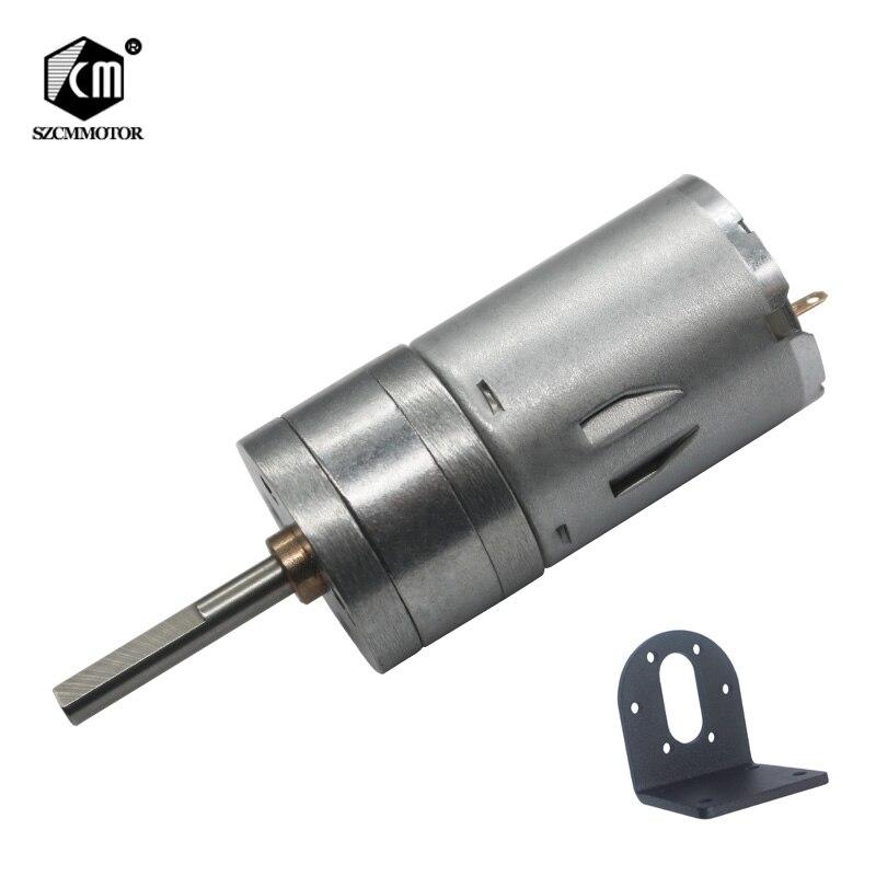 16 rpm-1360 rpm micro motor pequeno da engrenagem da baixa velocidade com o eixo longo da saída de 25mm * 4mm com suporte l deu forma ao motor alinhado dc da montagem