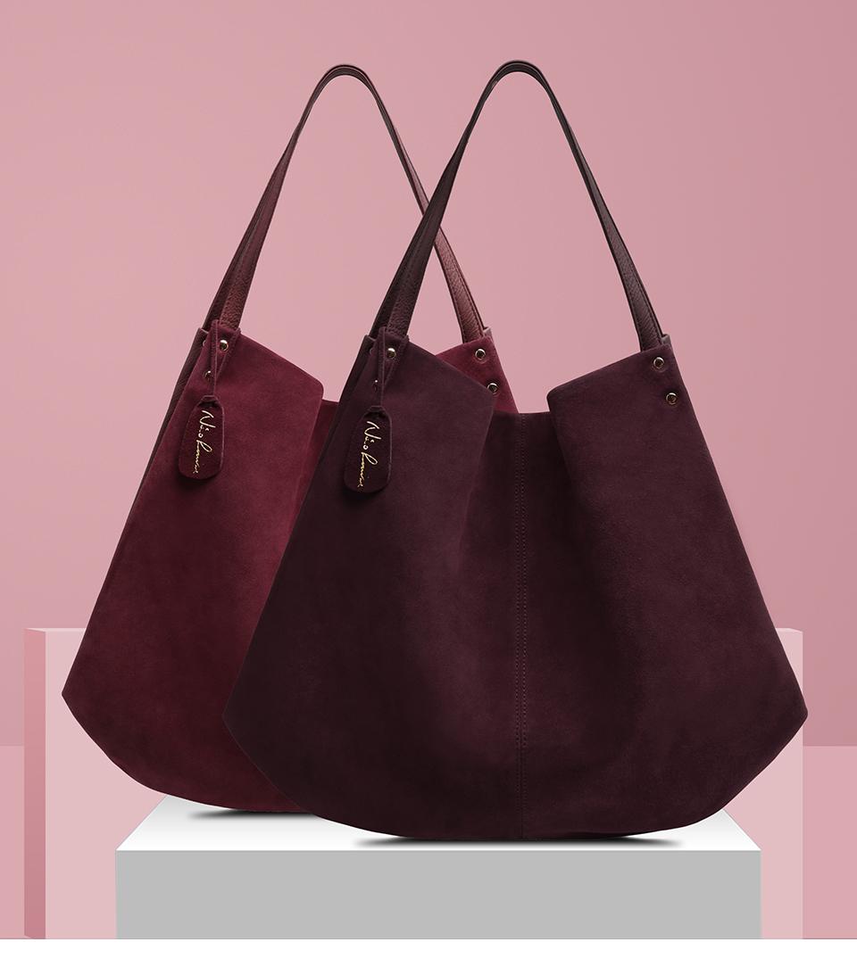 Women Real Split Suede Leather Hobos Bag Designer Female Leisure Large Shoulder Bags Solid Color Travel Casual Handbag