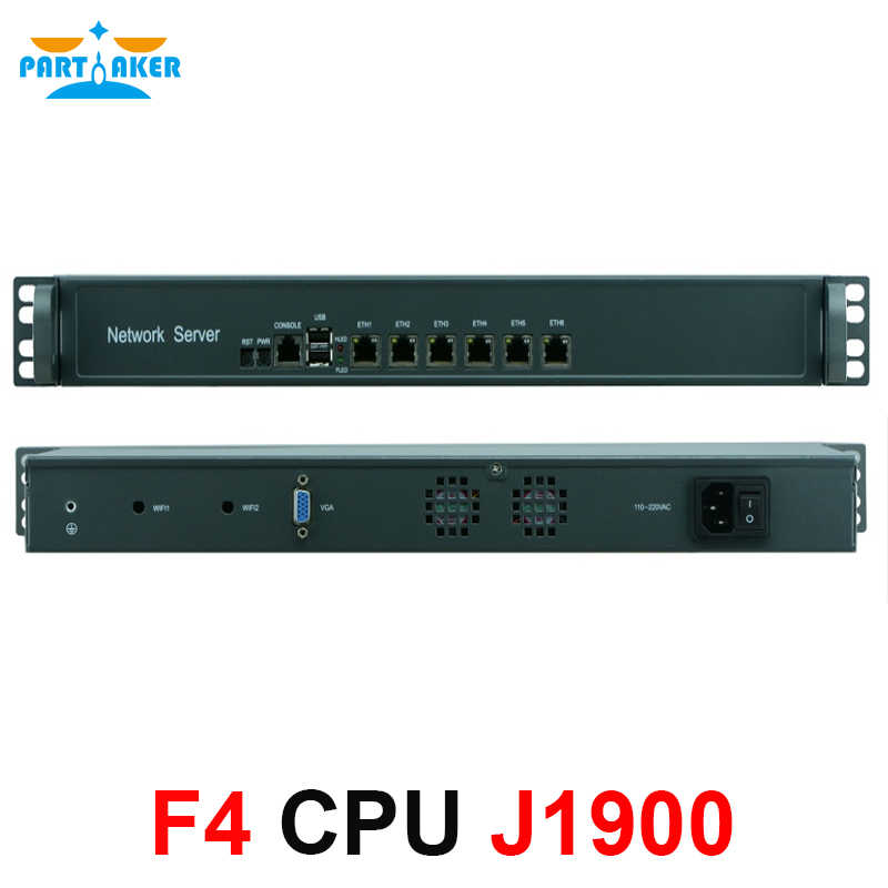 Partaker 6 ethernet LAN ports network security firewall linux fanless 1U rackmount server Intel Celeron Quad Core J1900