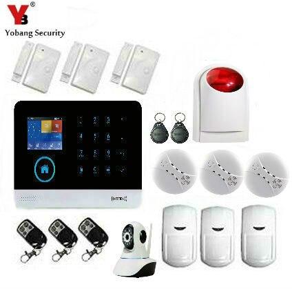 YobangSecurity WIFI GSM Wireless Touch Keypad Home Office Security Alarm System DIY Kit WIFI 720P IP Camera Wireless Siren