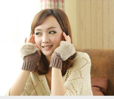 1pair/lot free shipping korean style woman fur wrist gloves female fingerless patchwork mittens candy color