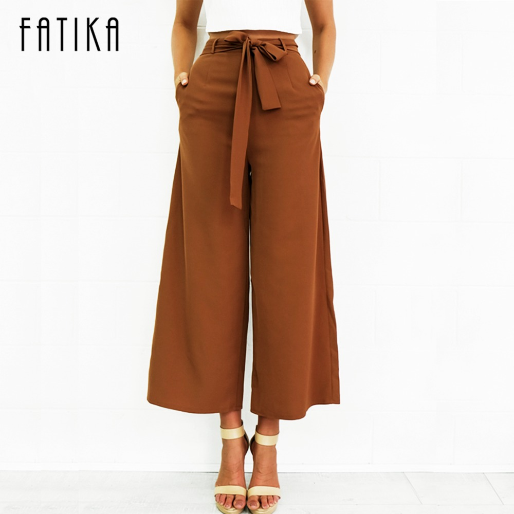 FATIKA Women Loose Casual Ankle-Length   Pants   Summer New 2017 Mid-Waist Fashion   Wide     Leg     Pants   Trousers With Belt