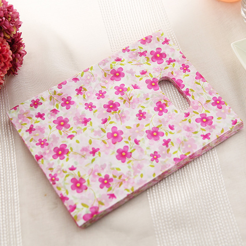 100 Mini Small Pink Heart Print Carrier Bags 15 x 20cm plastic bags Wholesale