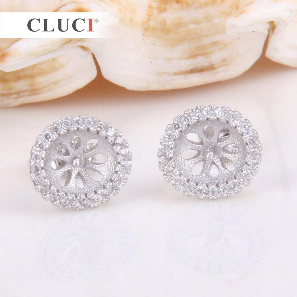 CLUCI 925 sterling silber glitzernde Runde ohrringe fitting Stud Ohrringe mit 46 zirkone Für Frauen Schmuck, die DIY