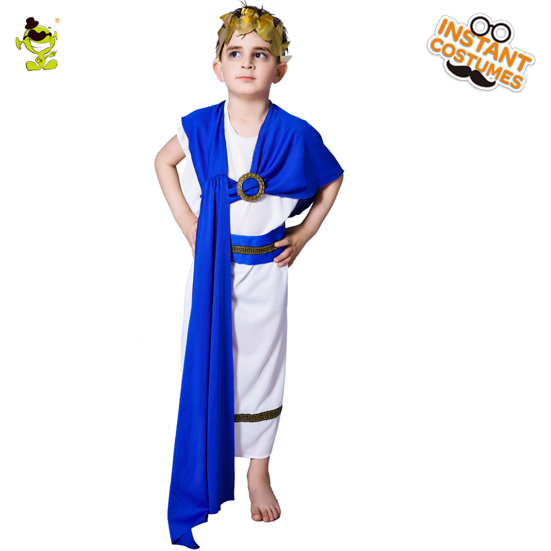 Kids Roman Centurion Costumes Masquerade Party Brave Army Leader Role Play Outfits Boys Noble Roman King Cosplay Sets